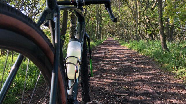 gravel bike on a woodland trail