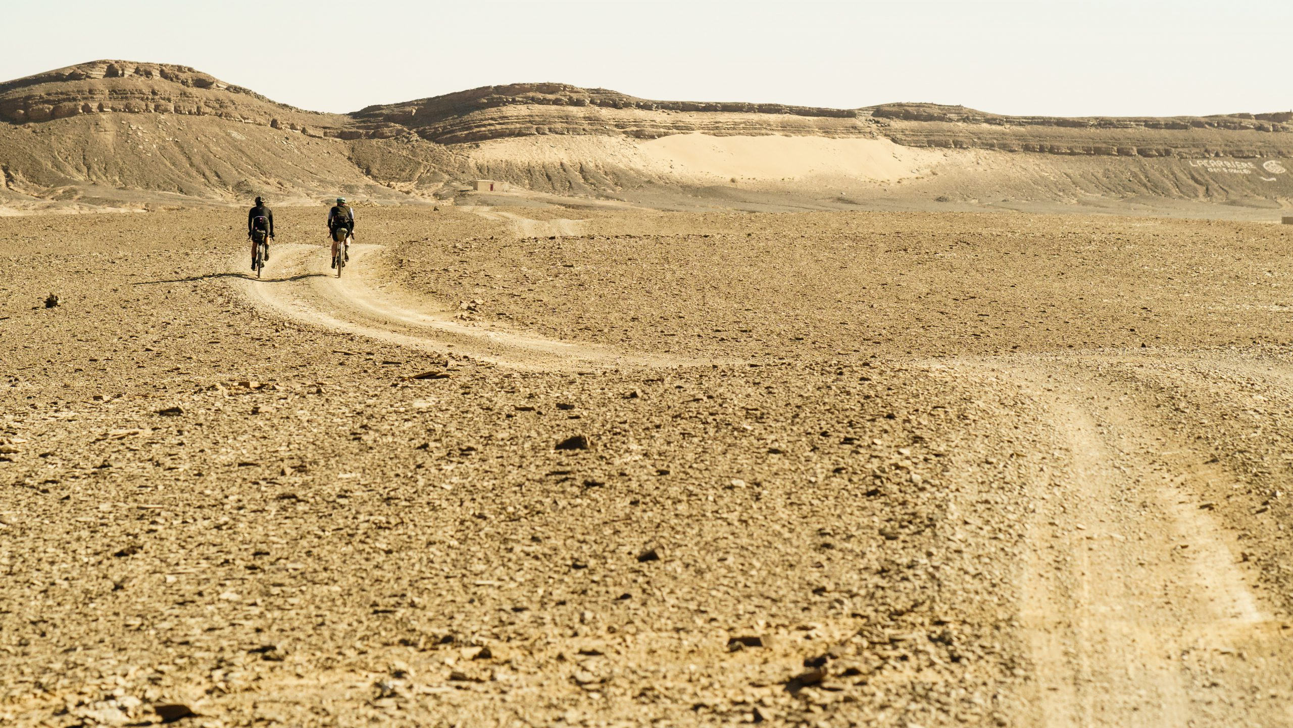Cyclists riding in the desert