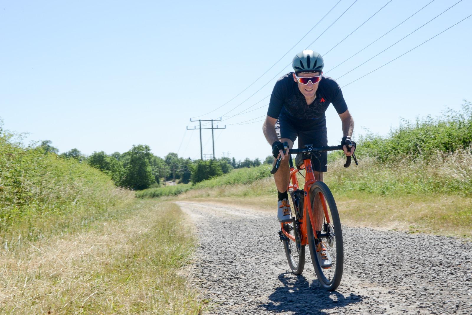 James Deane riding his gravel bike