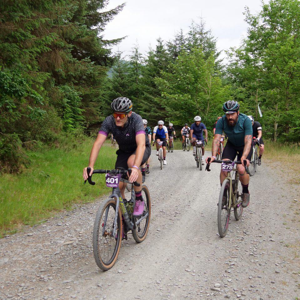 train of riders at Grinduro Wales